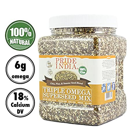 Pride Of India - Triple Omega Superseed Mix - 1,4 libra (635 g) Jar-proteína, fibra, calcio, hierro, omega-3, omega-6, tiamina rica súper con semillas ...