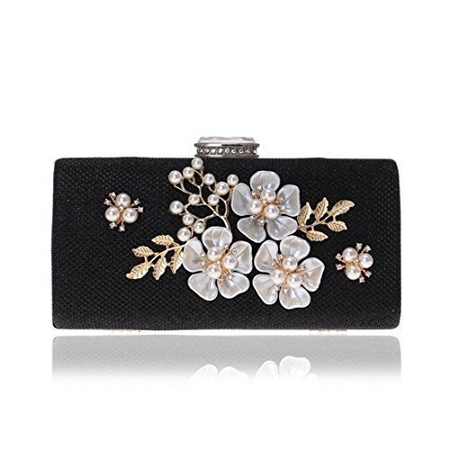 Foreign evening bag evening evening Color trade Silver bag Fly dress ladies pearl clutch Black fashion ZwqdSZAf8