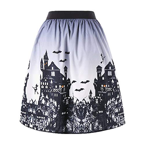 MOKO-PP Women's Sexy Halloween Day Ombre Castle Printed Swing Performance A-Line Skirt(XXL)