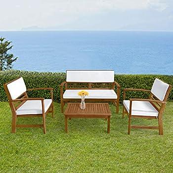 Amazon.com: FDW - Juego de 4 sofás de patio para exteriores ...