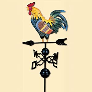 SHIYUE Wind Vane, Directions Traditional Colored Drawing Rooster Weathervane, for Garden Decoration Rooftop Ornament, Height 51 inch