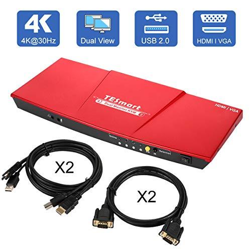 TESmart Dual-Monitor-KVM-Switch-2 Port (2 HDMI Ports and 2 VGA Ports) Updated