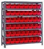 Quantum Storage Systems 1239-101RD Shelf and Bin Unit, 12'' D x 36'' W x 39'' H, Red