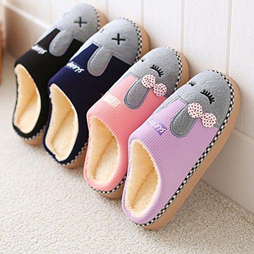Pantoufles Unisexe Mignon Rembourré Doux Chaussures Lapin Chaussons Chaud Femme Homme Noir Hiver Minetom Peluche B Antidérapant Coton Confortable d4q1wHU4I