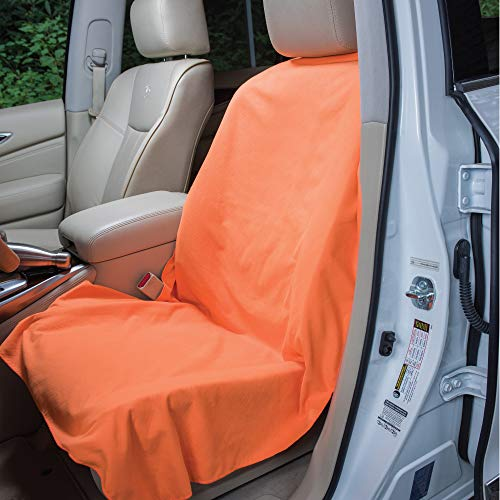 Run's Done Protective Car Seat Cover (Moisture-wicking, Machine Washable, Non-Slip Back, No Straps Needed) ()