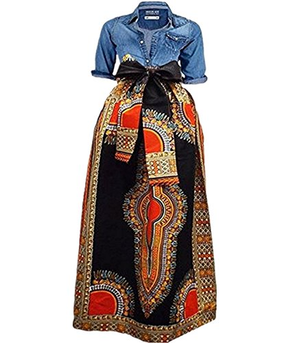 Shele Women's African Print Dashiki Long Maxi A Line High Waist Skirt (L, Black)