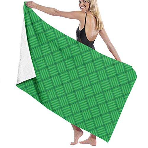 Amanda Billy Cotton Craft Super Soft Oversized Bath Towel Green Abstract Striped Decoration Linen - Luxury Hotel Towel - Ideal for Everyday Use