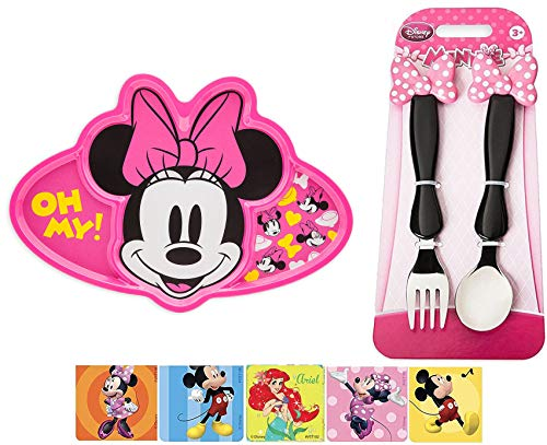 (Oh My Pink! Minnie Mouse Clubhouse Fork & Spoon Flatware + Compartment Meal Time Plate / Dish Disney eats + Sticker Magic Bundle )