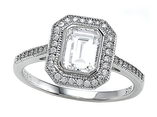 Zoe R Sterling Silver Micro Pave Hand Set Cubic Zirconia Halo Emerald Cut Center Engagement Ring Size 6 (Six Prong Pave Set)
