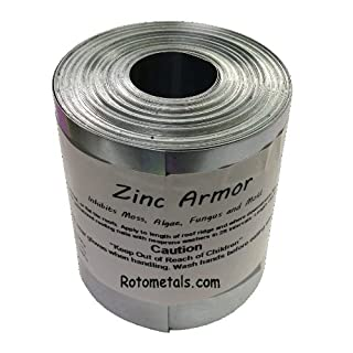 Zinc Armor - 3 inch Wide Zinc Strip, 1-roll of 50 Feet Prevent Algae, Moss,for Roofs Fungus & Mildew- Made in USA