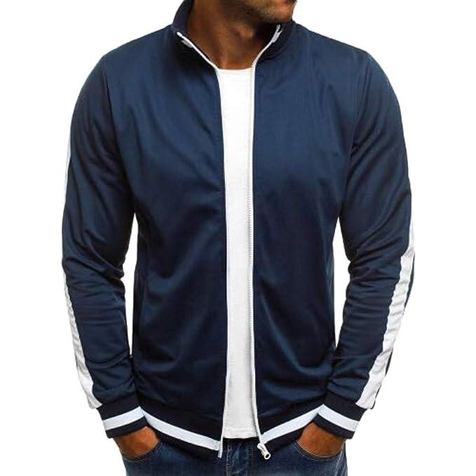 Bestow Hombres otoño Invierno sólido Informal Chaqueta de Abrigo con Cremallera Manga Larga Outwear Blusa Abrigo
