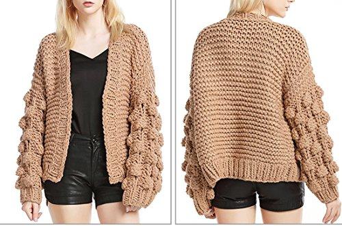 Ouvert moichien Manches Épaissir Avant Survêtement Lanterne Cardigan Tricot Marron Manteau Crochet Chandail Mode Ai Femmes vXwadqq