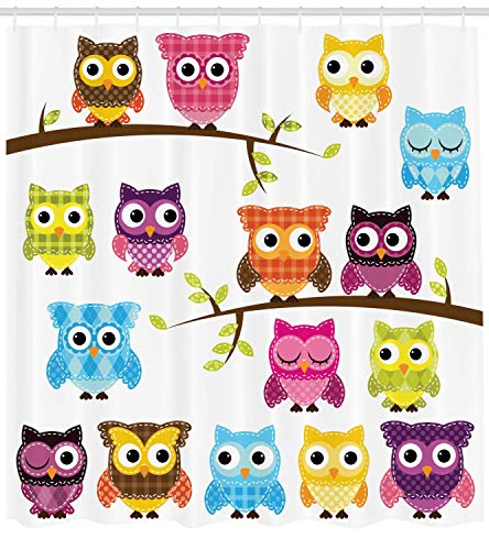Ambesonne Owls Home Decor Collection, Owls on Branches Night Time Jungle Wildlife Patchwork Quilt Style Design, Polyester Fabric Bathroom Shower Curtain Set with Hooks, Purple Blue Yellow Pink (Owl Fabric Pink)