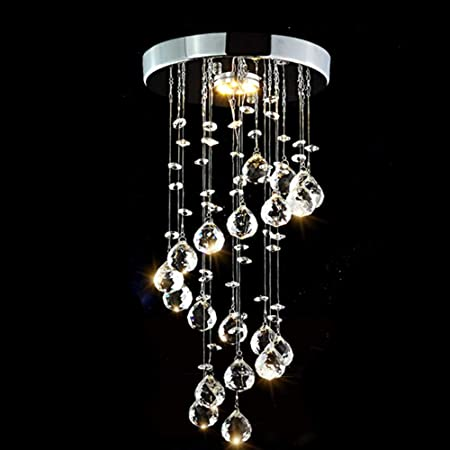 Modern 9 Light Crystal Raindrop Chandelier with 40mm Faceted Crystal Balls