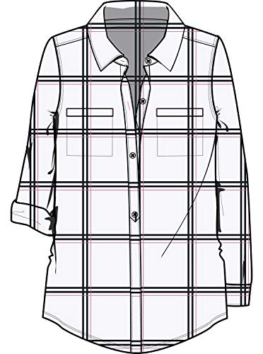 Roxy Junior's  Young Again Shirt, Snow White as Plaid, M (Cotton Sport Plaid Shirt Twill)