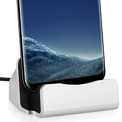 FanTEK USB Type-C Smartphone Charging Dock Station for Huawei G9 Plus, Google Nexus 6P, LG Nexus 5X, Sony Xperia X Compact, BLU Pure XR, Lenovo ZUK Z1 / Z2, ZTE ZMax Pro, HP Elite x3, LE Max, Silver