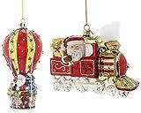 Kurt Adler Noble Gems Santa Travel Glass Ornament (2 Piece Santa Travel Set)