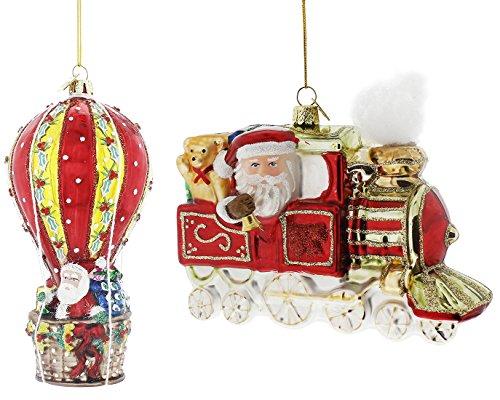 (Kurt Adler Noble Gems Santa Travel Glass Ornament (2 Piece Santa Travel Set))