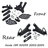 XKH- Black front and rear Rider Foot Pegs Bracket Fit For Honda Cbr600Rr 2003 2004