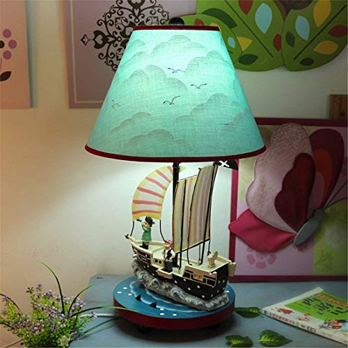 BOSSLV Creative Cartoon Warm Lovely Sky-Blue Pirate Ship Led Decoration Read Gifts Children's Room Bedchamber Bedside Lamp 28 45 ()