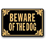 JXSED Beware of The Dog Funny Door Mat Indoor/Outdoor Rubber Non Slip Doormat for Patio Front Door Entrance Floor Mat 20X31