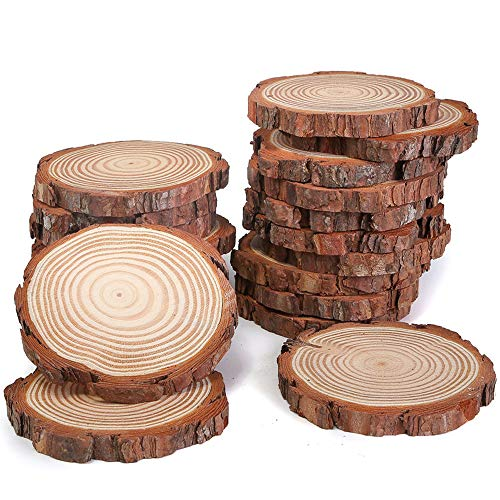 Natural Wood Slices 20 Pcs 3-4 inch for Centerpieces Crafts Ornaments Wooden Circles with Bark DIY Crafts]()