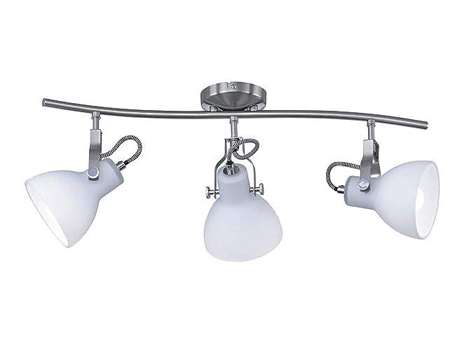 Moderna lámpara de techo LED de 3 focos en níquel mate de ...