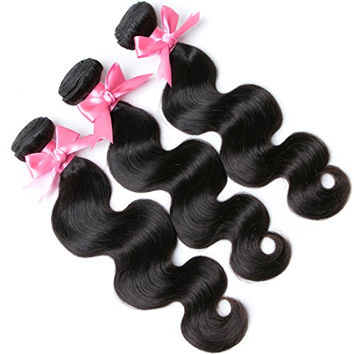 Free Queen 8A Brazilian Virgin Hair 3 Bundles with Closure Body Wave 100% Unprocessed Human Hair Weave With Lace Closure … (18'' 20'' 22''+16''closure, Three Part) by Free Queen (Image #3)