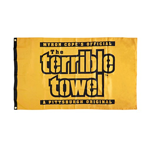 NFL Pittsburgh Steelers One-Sided Flag Terrible Towel, 3-Foot x 5-foot, Black and Gold -