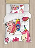 Ambesonne Unicorn Cat Duvet Cover Set Twin Size, Cute Fantastic Icons for Girls Magical Characters Mythological Mascots, Decorative 2 Piece Bedding Set with 1 Pillow Sham, Pink Multicolor