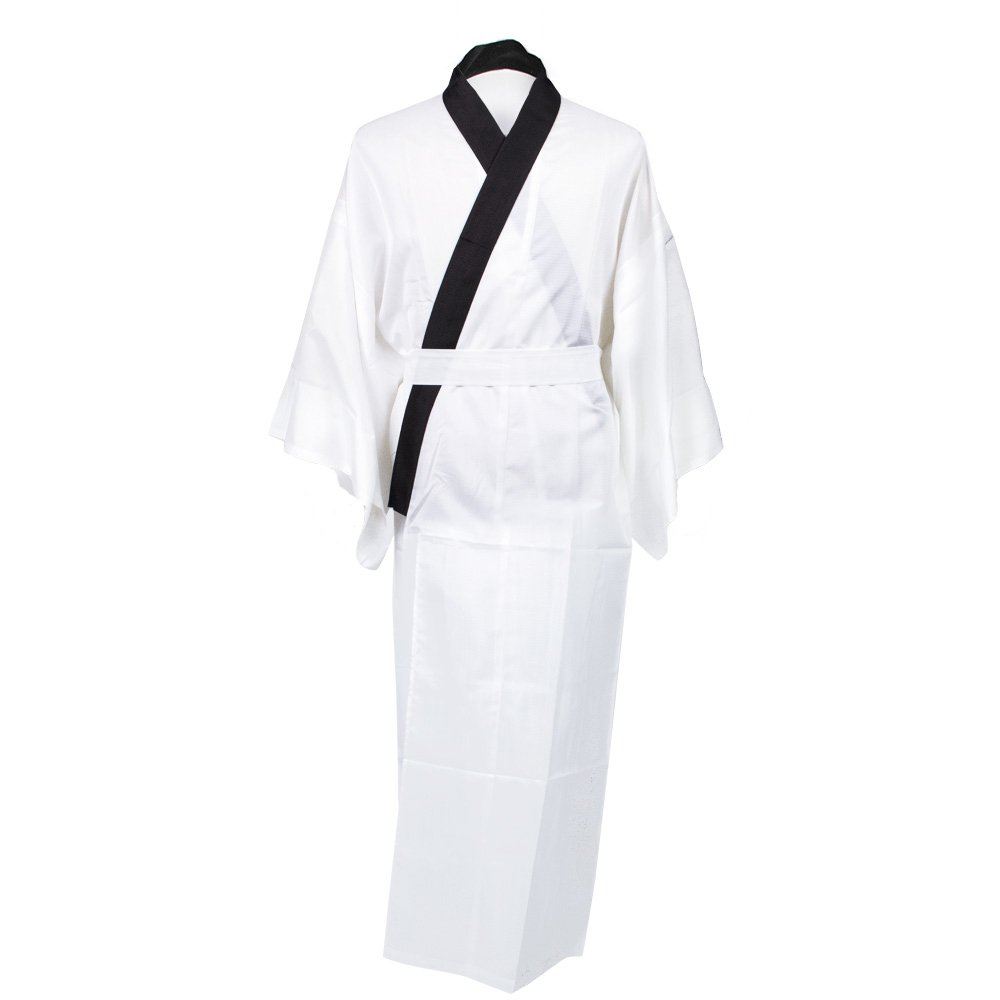 KYOETSU Men's Japanese Kimono Summer Underwear Nagajuban Washable (Medium, White/Black Coller)