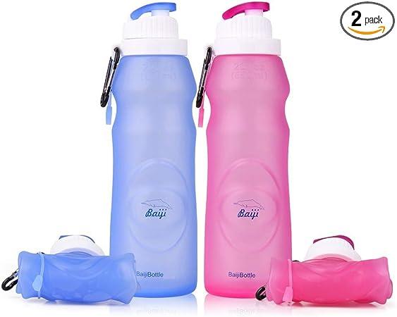 Botella de Agua para Acampada Balight Silicona, Ligera, Plegable, port/átil, 450 ML