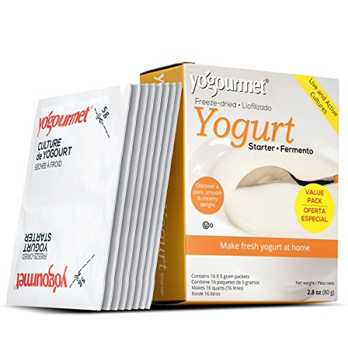 Probiotic Cultures Yogurt - Yogourmet 16 Pack Freeze Dried Yogurt Starter Value Pack, 1 Box Containing 16 Each 5 Grams Packets 2.8 Onces