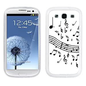 One Tough Shield ? Hybrid Flexible/Rigid Phone Case (White Bezel) for Samsung Galaxy S-III S3 - (Music Notes / White) by lolosakes