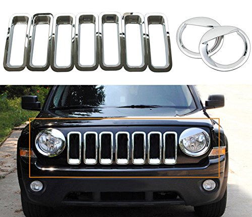 Chrome Silver Front Grille Grill Mesh Grille Insert Kit & Angry Bird Style Head Light Lamp Covers Trim for Jeep Patriot 2011-2017 9PCS