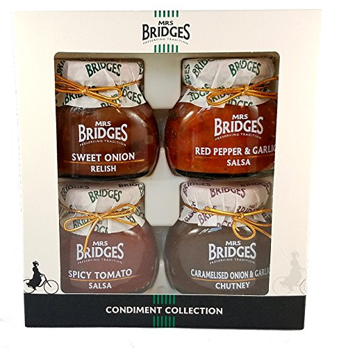 Mrs Bridges Condiment Collection, 3.5 Ounce (Sweet Onion Relish, Red Pepper & Garlic Salsa, Spicy Tomato Salsa, and Caramelized Onion & Garlic Chutney) (Red Relish)