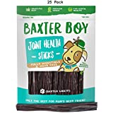 """Baxter Boy 6"""" Joint Health Boosting Sticks Dog Treat Chews (25 Pack) – Naturally Rich in Glucosamine and Chondroitin - Tasty and Fresh Beef Gullet Sticks - Promotes Healthy Joints and Tissue Growth"""