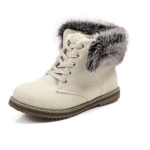 de correa otoño e resistencia invierno nieve piel de Beige extraíble Beige talón Skid XIAOGANG collar H de delantera HMujeres goma 40 botas desgaste baja Rosa azul zqnFwAaxw