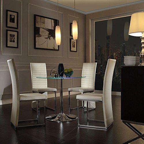 Creek 5 Piece Leg Table (Home Creek Elysium 5-Piece LED Dining Set with Chrome)