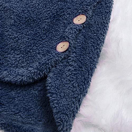 Hiver Manteau Manteaux Grande Couleur Peluche Capuche itisme Unie S nbsp;femme Veste À 5xl Bouton Boutonnage Manteau Marine Taille Femme b qAYEZIcSSw