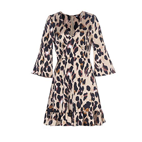 (The Kuul Women's 3/4 Sleeve V Neck Leopard Print Knee Dress (Large, Brown) )
