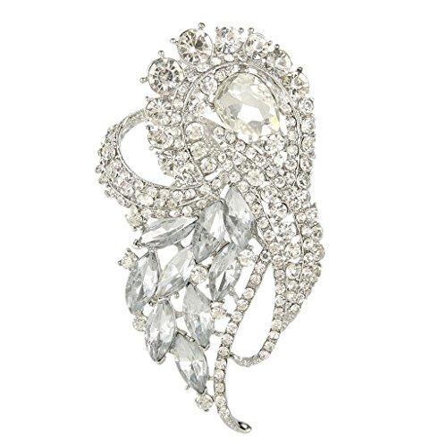 EVER FAITH Austrian Crystal Wedding Elegant Flower Teardrop Bouquet Brooch Clear Silver-Tone by EVER FAITH
