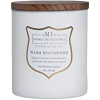 Manly Indulgence Warm Beachwood Jar Candle, 15 oz, White