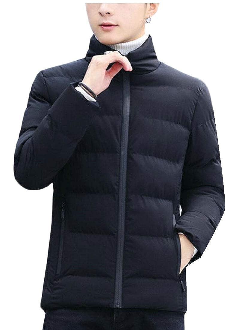 Keaac Men Solid Coats Warm Stand Collar Outwear Jacket Down Coat
