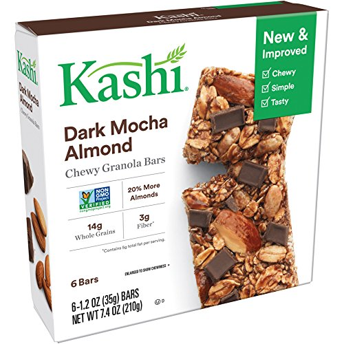 Kashi Chewy Granola Bars, Dark Mocha Almond, Non-GMO Project Verified, 7.4 oz (6 Count)(Pack of ()