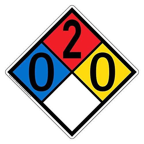 NFPA 704 Hazmat Diamond Label with 0-2-0-0 Rating, 10 x 10 in. Multi Color, Vinyl