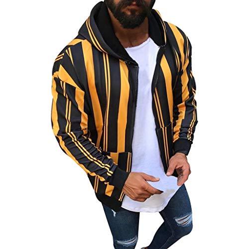 Men Stylish Stripe Zipper Pullover Long Sleeve Hooded Sweatshirt Jacket Coat Orange