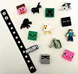 Cute Jibbitz Shoe Charms PVC Plug by Nenistore|Accessories for Croc Shoes & Bracelet Wristband Party Gifts | Minecraft (Set of 7 assorted pcs) FREE 01 Silicone Wristband 7 inches