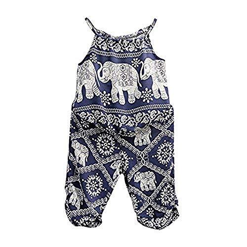 2Pcs/Set Kids Baby Girls Elephant Jumpsuit Romper, Straps Tops+Harem Pants Outfit (3-4 Years, Blue) -