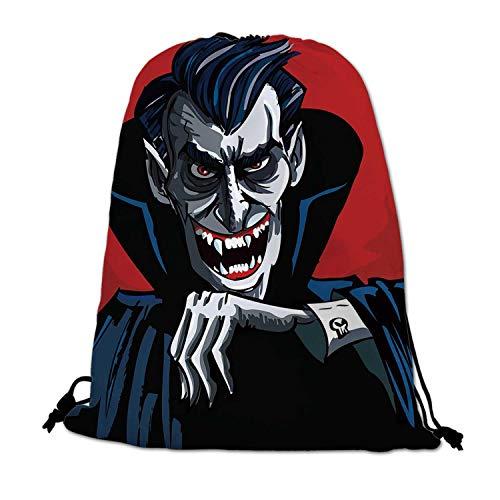 Vampire Lightweight Drawstring Bag,Cartoon Cruel Old Man with Cape Sharp Teeth Evil Creepy Smile Halloween Theme for Travel Shopping,One_Size
